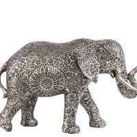 Resin Standing Elephant Figurine with Detailed Engraved Design Medium Matte Finish Silver