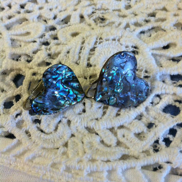 Abalone Heart Earrings Vintage Green Blue Purple Paua Shell Heart Shaped Clip On Earrings Heart Lovers Jewelry Winter Christmas Gift For Her