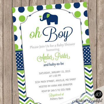 Oh Boy Baby Shower Invitation Elephant Navy and Lime Green Chevron printable invitation LNCP-E