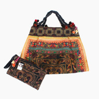 Set Of Shoulder Bag with Wristlet Clutch Purse HMONG Embroidered Fabric Handmade Hill Tribe Thailand  (BG121SET2-MOB)