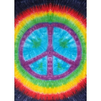 Rainbow Tie-Dye Peace Sign Tapestry Dorm Wall Hanging 60x90
