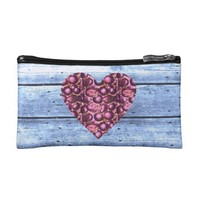 Pink Glam Heart Sky Blue Wood Small Satin Bag Cosmetics Bags