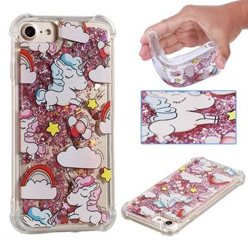 Fashion Unicorn Pattern Clear Soft TPU Back Cover Liquid Quicksand Mobile Phone Case For iPhone X/ iPhone 8 / iPhone 8Plus/ iPho