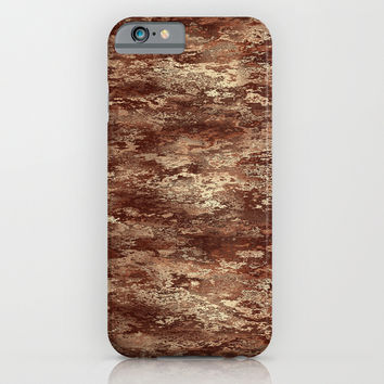 Vivid brown wood bark texture iPhone & iPod Case by Natalia Bykova