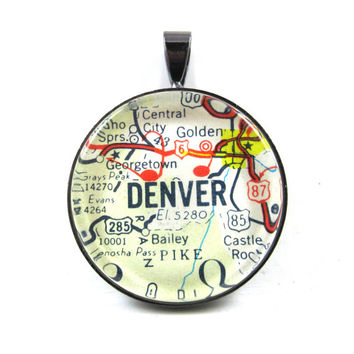 Road Map Pendant of Denver, Colorado, from Vintage in Glass Tile Circle