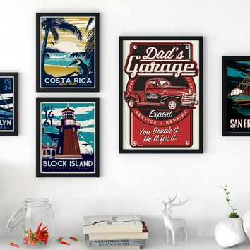 Retro Poster Small Art Canvas Print Hawaii Ocean Beach World Famous Attractions Landscape Pictures Modern Home Decoration OT006