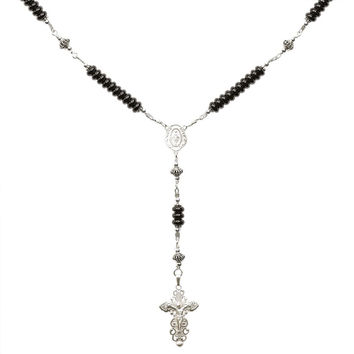 Sterling Silver Rosary Necklace Onyx 6mm, Crucifix & M. Medal, 17""