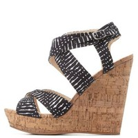 Black Printed Crisscross Strappy Wedges by Charlotte Russe