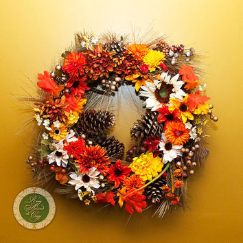 Thanksgiving Wreath Thanksgiving Decor Fall Wreath Fall Decor Wreath Flowers, Fruit, Berries, Pine Cones Wreaths Under 100