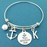 Personalized, Letter, Initial, You anchor me, Anchor, White, Pearl, Silver, Bangle, Bracelet, Lovers, Best friends, Friendship, Gift