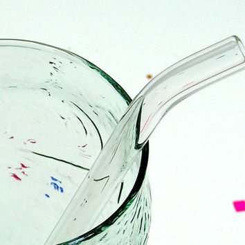 Clear Glass Drinking Straw - Bent Glass Straw