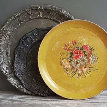 round tray vintage paper mache hand painted by KatyBitsandPieces