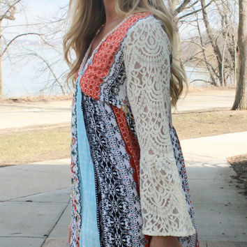 Flower Child Peasant Dress - Orange and Aqua