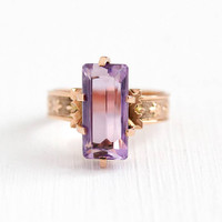 Antique Victorian Ring - 10k Rose Gold Amethyst Fine Jewelry - Vintage Size 6 1/4 Large Purple Genuine Gem February Birthstone Statement
