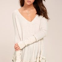 Free People Laguna Light Beige Thermal Long Sleeve Top