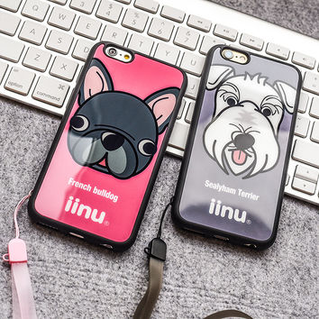 Cute Dog Mirror Silicone Protection Cover Phone Case for IPhone 6 6plus