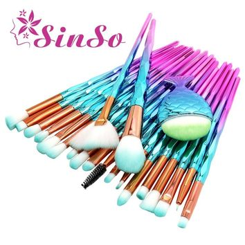SinSo 21pcs Mermaid Diamond Makeup Brush Set Fish Tail Foundation Blush Eye shadow Make up Brush Contour Blending Brushes Kit