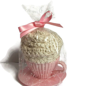 Cupcake/Flower Cotton Wash Set  Crocheted in Cream in Pink Cup & Saucer. Bathroom Accessories, Hostess Gift Set, Bridal shower, baby shower.