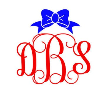 Vine Bow Monogram Decal/Car Decal