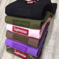 Supreme Cultivate one's morality embroidery logo couples high quality sweater (6-color)