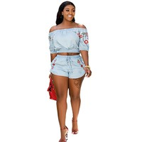 Womens Two Piece Set Summer Off the Shoulder Crop Top and Shorts Set Floral Print 2 Piece Short Sets for Women Two Piece Outfits