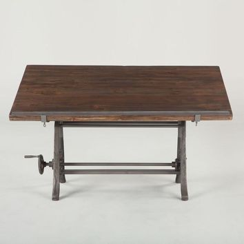 Industrial Drafting Desk - Wooden Top - No Special Order