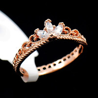 Rose Gold Jewelry CZ Dainty Crown Ring