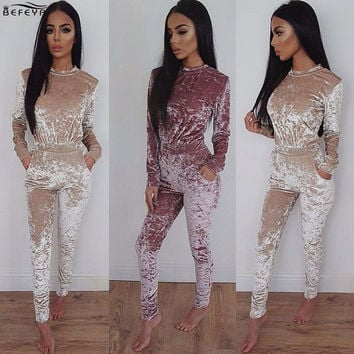 2016 New Year Chic Velvet Long Sleeve Bodycon Jumpsuit Elegant Purple Women Romper Winter Casual Playsuit combinaison femme