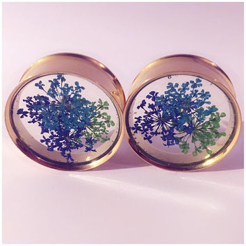 Gold tunnel blue and green flower plugs! ear plugs, ear stretchers, ear guages.