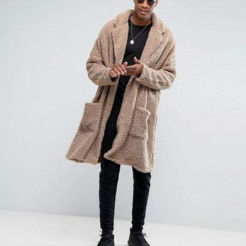 ASOS TALL Extreme Oversized Borg Duster Coat at asos.com