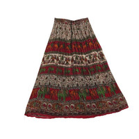 Mogulinterior Long Broomstick Skirt Brown Tribal Ethnic Print Hippie Gypsy Womens Maxi skirts