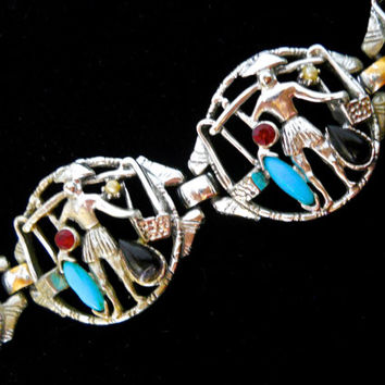 Asian Man Signed SELINI Bracelet Rare, Glass Turquoise & Onyx, Red Rhinestone, Vintage