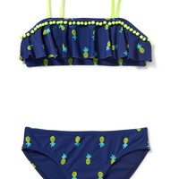 Pom-Pom-Trim 2-Piece Bikini for Girls | Old Navy