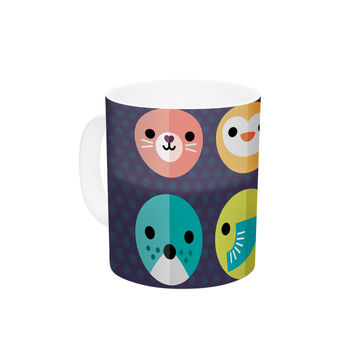 "Daisy Beatrice ""Smiley Faces"" Animals Ceramic Coffee Mug"