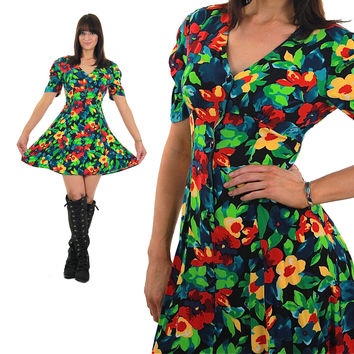 Neon floral Mini Dress Abstract Mini button up short sleeve Retro Sundress Skater Deep V plunging Hipster Medium