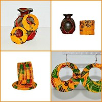 African Fabric Bangle And Earrings Gift Set