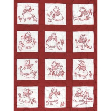 "Sunbonnet Girls Jack Dempsey Stamped White Nursery Quilt BLocks 9""X9"" 12/Pkg"