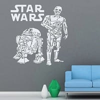 Wall Decals Star Wars C-3PO R2-D2 Decal Vinyl Sticker Home Decor Interior Design Nursery Living-room Ms145