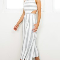 Out Dream Yourself jumpsuit in grey stripe linen look Produced By SHOWPO