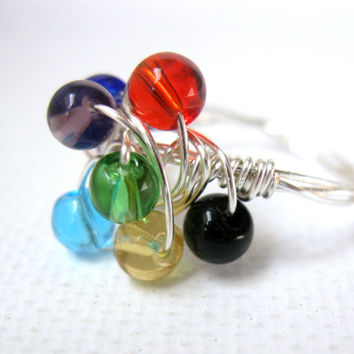 Colorful glass bubble wire wrapped ring with braided band, bauble ring, cluster ring, statement ring, womens ring, beaded ring, size 6