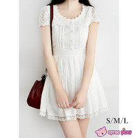 S/M/L White Cotton Lace Dress SP151627 from SpreePicky