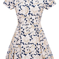 Pleated Embroidered Canvas Dress