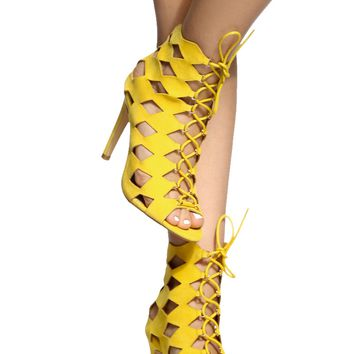 Yellow Faux Suede Cut Out Lace Up Heels @ Cicihot Heel Shoes online store sales:Stiletto Heel Shoes,High Heel Pumps,Womens High Heel Shoes,Prom Shoes,Summer Shoes,Spring Shoes,Spool Heel,Womens Dress Shoes