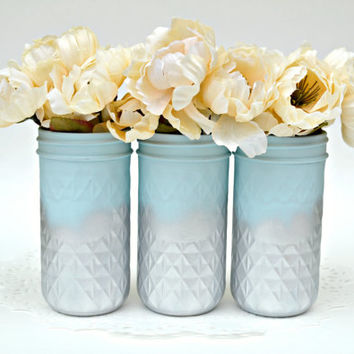 Dorm Decor, Wedding Centerpiece, Mason Jars Bulk, Painted Mason Jars, Blue Mason Jars, Painted Jelly Jars, Spring Decor, Jar Centerpiece