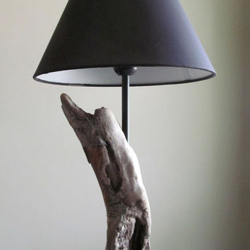 "Driftwood Cavity Table Lamp with Black Base, 18"" Tall, Driftwood Lighting, Driftwood Art, Driftwood Home Decor, Lighting Decor, Driftwood"