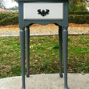 Entryway Table Foyer Side Table Stand Phone Table Painted Gray Cream Black Hardware Small Shelf with Drawer Entry Storage Wood Vintage