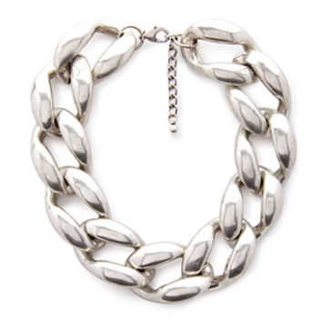 FOREVER 21 Chain Link Collar Necklace Silver One