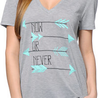 Starling Now Or Never Grey V-Neck Tee Shirt