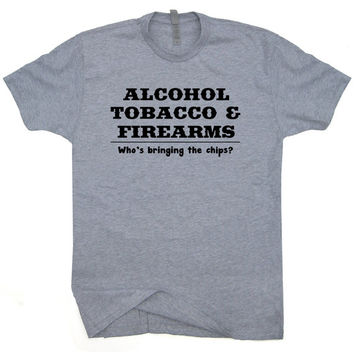 Alcohol Tobacco and Firearms ATF T SHIRT Funny Guns budweiser NRA Beer Hunting Fishing Tee