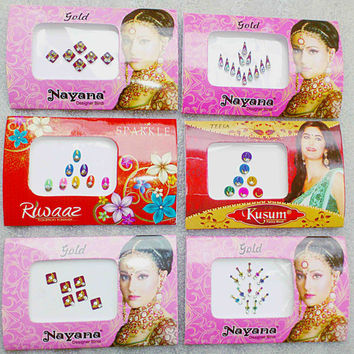 Set of 6 Bindi Packets - Bellydance Bindis - Bridal Bindis _Crystal Gems Stickers -Tattoos - Body art - Temporary Bridal make up